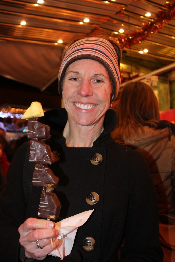 Chocolate-covered pineapple on a stick.  My face is now frozen I'm so cold.