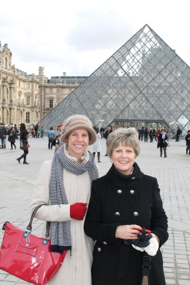 Outside the Louvre.