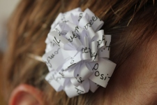 A very fun hair bow Sarah made me filled with words that describe me. So sweet!